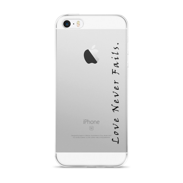 """Love Never Fails."" iPhone case"