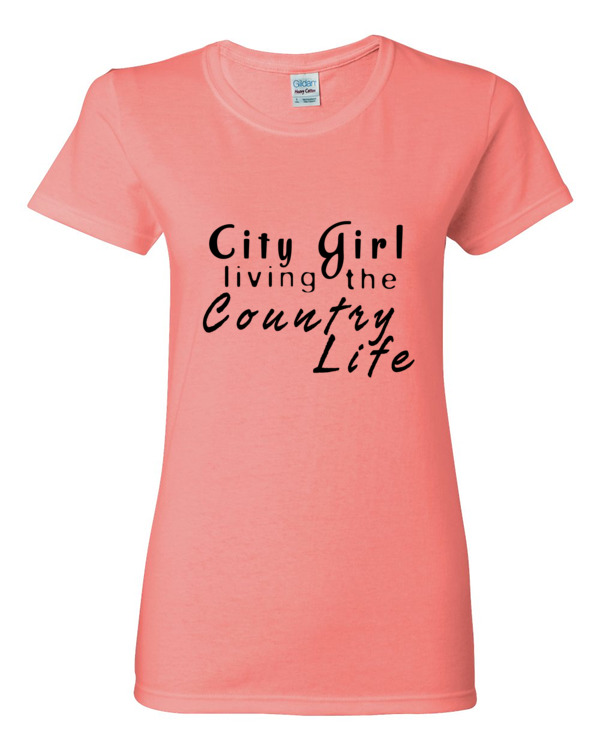 """City Girl living the Country Life"" Women's short sleeve t-shirt"