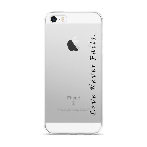 """Love Never Fails."" iPhone case"